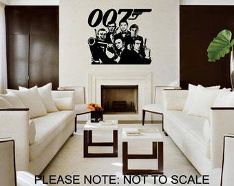 James Bond,all 6 From 1962 to 2012 - Wall Decal - Wall art Sticker - ( Black outline shown )