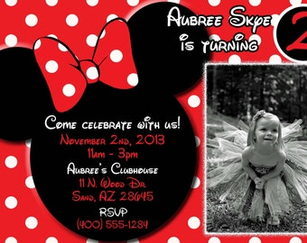 Minnie Mouse Invitations, Minnie Mouse Birthday, Red Minnie Mouse invitations, Minnie Mouse party, Minnie Mouse Thank you card