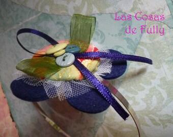 blue flower buttons headband