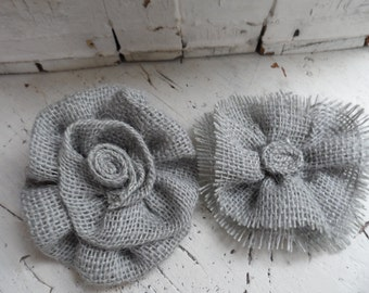 Set of two burlap flower you pick the color