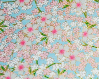 Japanese Chiyogami Yuzen Paper - Pink and White Blossoms on Sky Blue 5 x 4.25 inches