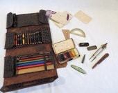 Vintage french leather pencil case with all original pieces, 1930s