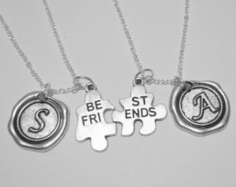 2 Best Friends Jigsaw Puzzle Pieces Wax Seal Initial  Necklaces BFF