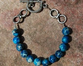 Reserve for Sarah- Blue Jasper Beaded Bracelet