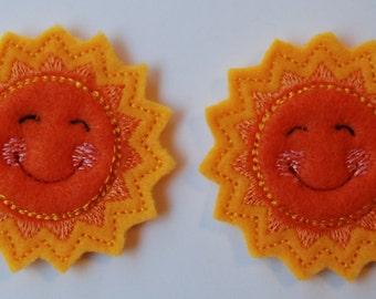 Set of 2 Smiling Sun Feltie Felt Embellishments