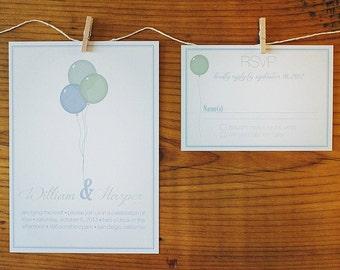 Printable Wedding Invitation Set - Up, Up and Away