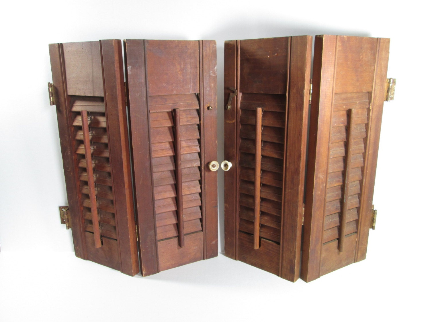Vintage wooden interior window shutters salvage for 12 window shutters