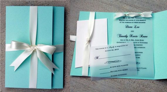 robins egg blue wedding invitation blue with white ribbon,