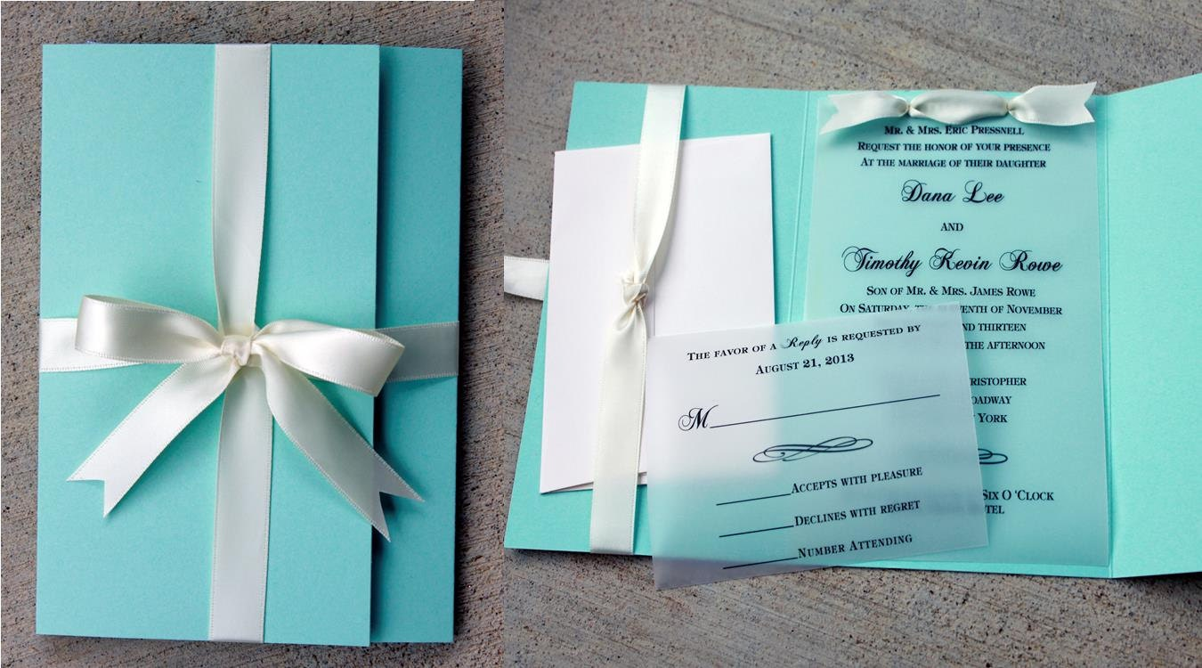 robins egg blue wedding invitation blue with white ribbon, Wedding invitations
