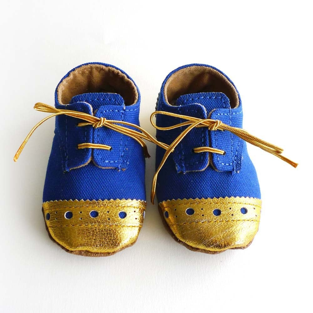 Baby Boy Toddler Shoes Royal Blue Canvas with Brogued by