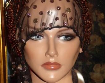 Black tulle Bronze Sparkles Golden Flapper Hat Cloche  1920 Theme Personalized  Fringes
