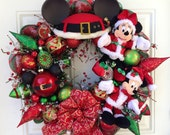 Christmas Wreath Mickey and Minnie Mouse