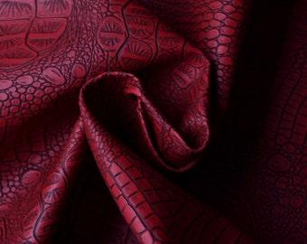 Half Yard Alligator Embossed Faux Leather Fabric,Fake Crocodile Dark Red Leather Upholstery Fabric,Making Bag,Purses Leather Fabric(#8)