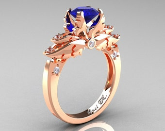 Classic Angel 14K Rose Gold 1.0 Ct Blue Sapphire Diamond Solitaire Engagement Ring R482-14KRGDBS