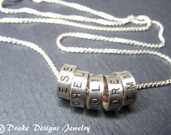 Hand stamped name necklace with kids names sterling silver mommy