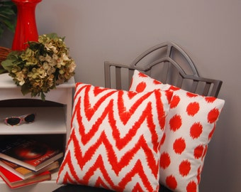 Tangerine Orange Premier Prints 18 X 18 Throw Pillow Cover 2 Sided Chevron and Dot Ikat, Decorative Sofa Pillow, invisible zipper closure