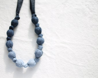 Fabric Statement Necklace,Teething Necklace, Chomping Necklace, Nursing Necklace - Grey Ombre