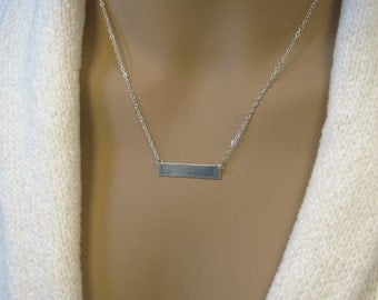 Silver Bar Necklace, Minimalist Silver Necklace, Pure Silver Personalized Necklace,  .999FS Bar, Sterling Silver Chain