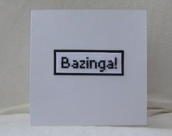 Bazinga Cross Stitch Card