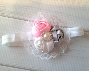 baby headband, baby girl headband, rosette headband, lace headband, vintage headband, flower headband