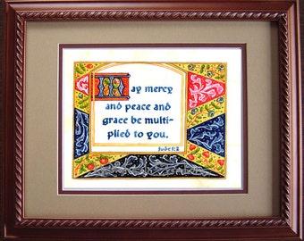 Scripture Art - Jude 1:2 - Religious Art - Illuminated Scripture - Illustrated Scripture - Unframed