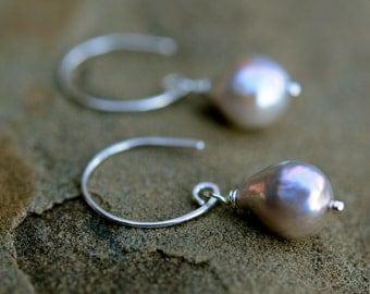 small silver grey baroque pearl dangle earrings, handmade sterling silver ear wires