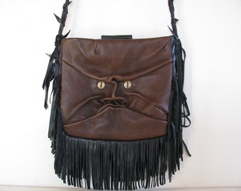 Brown Leather --Hand  Molded Face Bag/ Cross-Body Bag/Purse/ Handbag