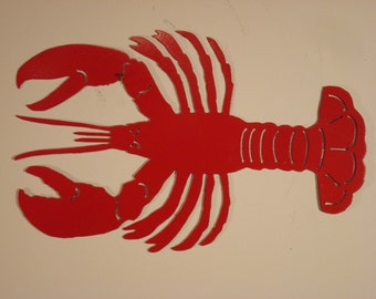 Red Maine Lobster - Wall / Garden Metal Art - Solid Steel - Made in USA