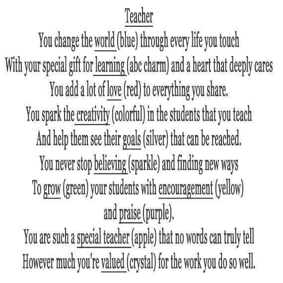 Super Bracelet poème enseignants fin dannée Merci cadeaux pour EE48