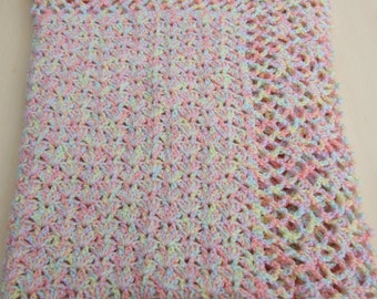 Hand crochet baby blanket or afghan in pastel colours with a shell pattern - unisex - pram cover - car seat blanket