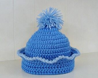 Crochet Baby Hat with Pom Pom Deep Sky Blue