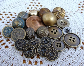 23 Vintage Buttons Various Sizes & Materials