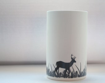 Tall white vase. Oh Deer - Fine white bone china vase in stoneware with a deer silhouette - illustrated ceramics