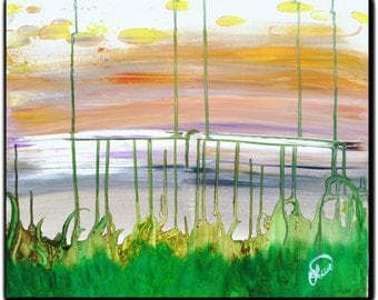 """Original Gallery Wrapped Abstract- """"Marsh'mellow"""""""