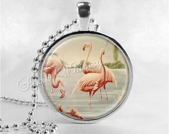 FLAMINGO Necklace, Flamingo Pendant, Flamingo Jewelry, Flamingo Charm, Pink Flamingos, Bird Jewelry, VIntage Flamingo