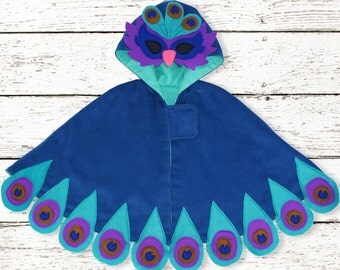 Childrens cape sewing pattern pdf, Girls sewing pattern pdf,  kids Halloween pattern, costume pattern, kids cape pattern, PEACOCK CAPE