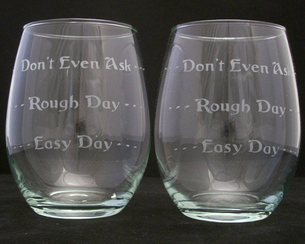 good day bad day stemless wine glasses good wedding gifts zoom