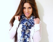Women's BLUE Ruffle Scarf, Denim Blue, Blue Scarf, Women's Accessories, Scarf - MahaMahaCreations
