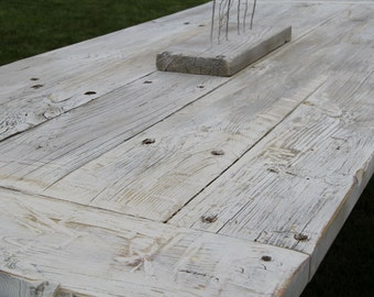 Rustic Living  White Wash Pure KS Reclaimed Wood Table