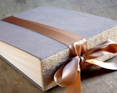 RESERVED LISTING for ANGEL, Large Rustic Wedding Photo Album with Charcoal Gray Fabric Covers