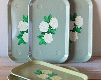 6 Sea foam blue metal serving trays with peonies