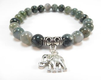 Sacred Elephant Mala Bracelet Namaste Healing Mala Yoga Jewelry Moss Agate Zen Beaded Bracelet Meditation Jewelry Christmas Stocking Stuffer