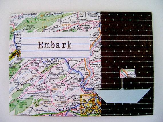 Embark card / bon voyage / new adventures / collage / inside blank