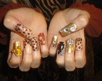 Leopard Glamorous Animal Sophisticated Kawaii Deco Gyaru Nails