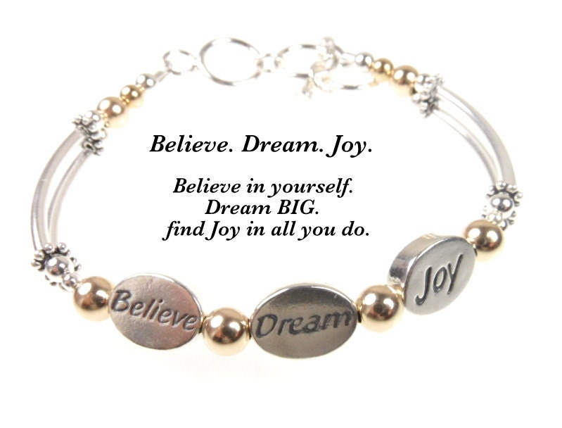 3 Wish Bracelet Believe, Dream, Joy,Graduation gift, 3 Wish Jewelry, Message Bracelet, Jewelry with Words,  3 Wish gift, Graduation Bracelet