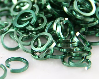 18 ga 1/4, 200 Square Green Anodized Aluminum Chainmail Jump Rings