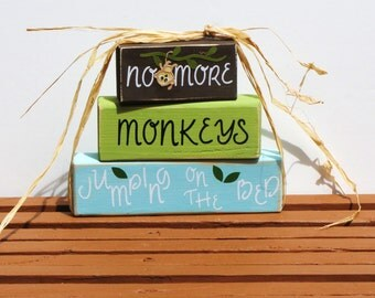 No More Monkeys Jumping on the Bed-wooden blocks