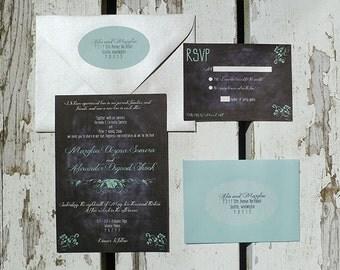Chalkboard Script Wedding Invitation (Set of 20)