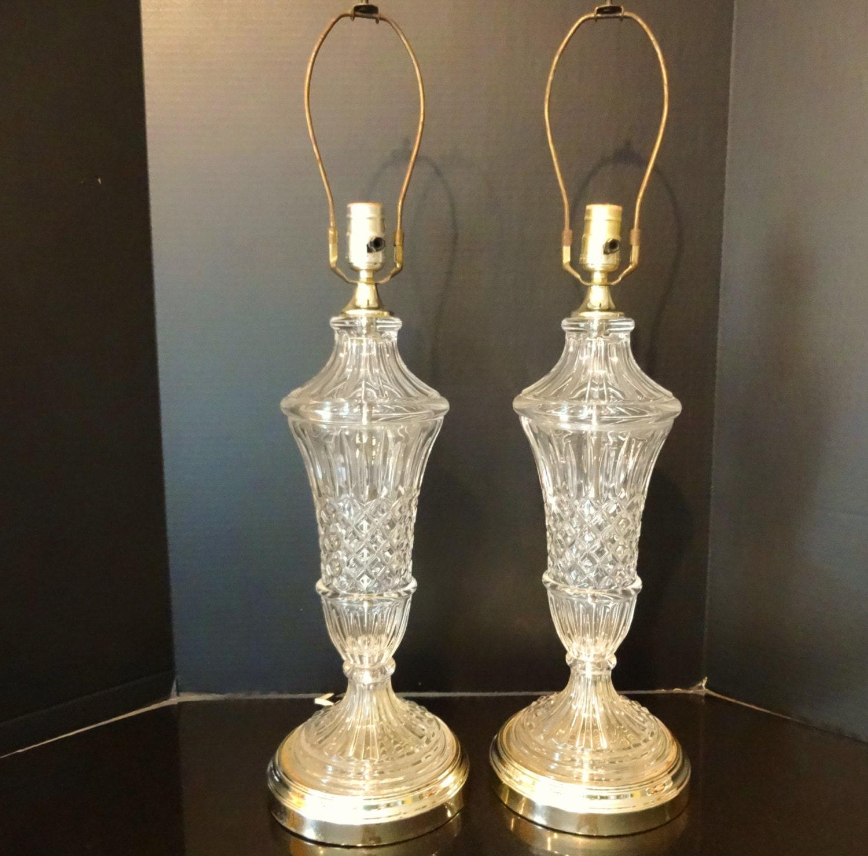 vintage crystal table lamps pair hollywood regency tall. Black Bedroom Furniture Sets. Home Design Ideas