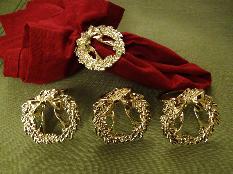 Vintage Holiday Napkin Rings Set Of 4 Gold Christmas